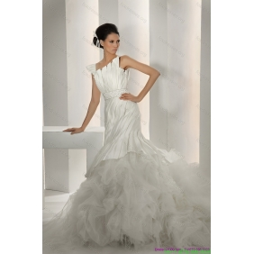 Elegant Asymmetrical A Line Wedding Dress with Ruching and Ruffles