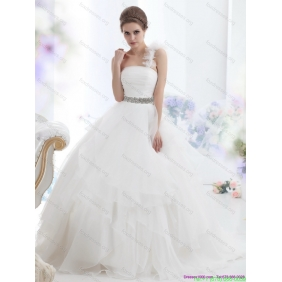 Elegant One Shoulder Wedding Dress with Appliques