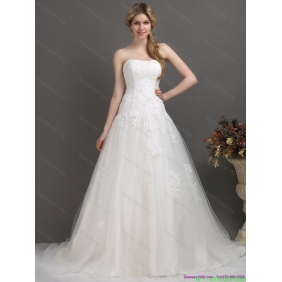 Elegant Strapless Brush Train Wedding Dress with Beading