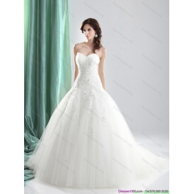 Elegant Sweetheart A Line Wedding Dress with Appliques