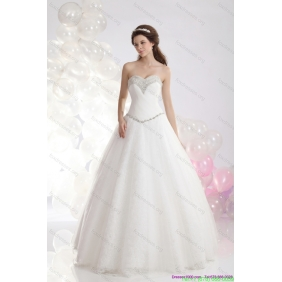 Elegant Sweetheart A Line Wedding Dress with Beadings