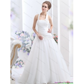 New Arrival 2015 Halter Top Wedding Dress with Ruching and Hand Made Flowers