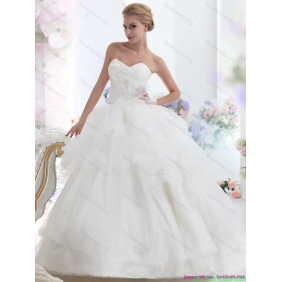 New Arrival 2015 Sweetheart Wedding Dress with Hand Made Flowers
