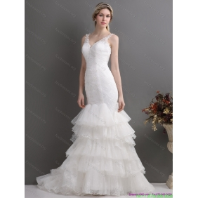 New Arrival Mermaid Wedding Dress with Lace and Ruffles for 2015