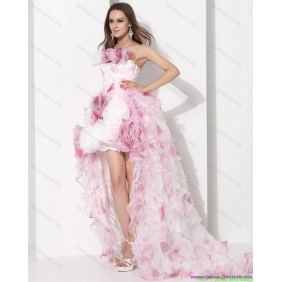 New Arrival Strapless High Low Wedding Dress with Ruffles for 2015