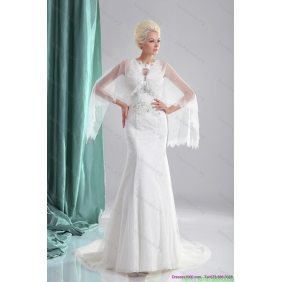 2015 Affordable Beading White Wedding Dresses with Brush Train