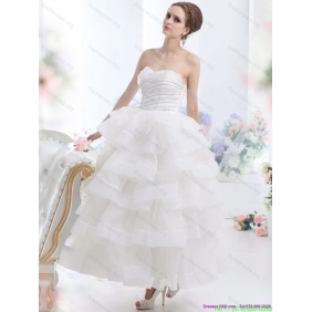 2015 Affordable White Wedding Dresses with Ruffled Layers and Beading