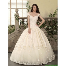 2015 New Arrival Off The Shoulder Lace Wedding Dress with Floor Length