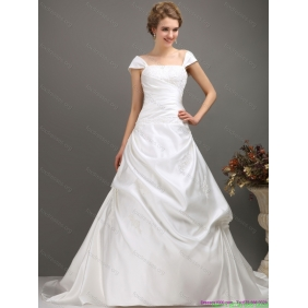 2015 New Arrival Square Lace Wedding Dress with Floor-length