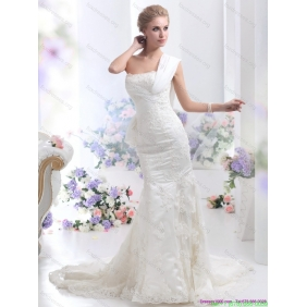 2015 New Arrival White Mermaid Wedding Dress with Court Train and Lace
