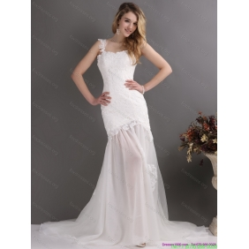 Affordable Laced White One Shoulder Wedding Gowns with Chapel Train