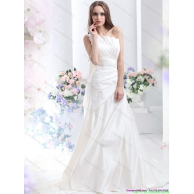 Affordable One Shoulder White Wedding Dresses with Brush Train