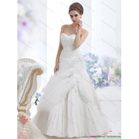 Affordable Strapless Ruffles and Beading White Bridal Gowns for 2015