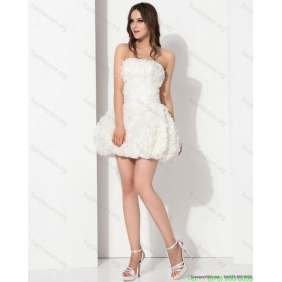 Affordable White Strapless Ruffled Wedding Dresses with Bownot