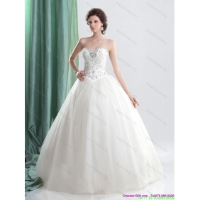Affordable White Sweetheart Wedding Dresses with Ruffles and Beading