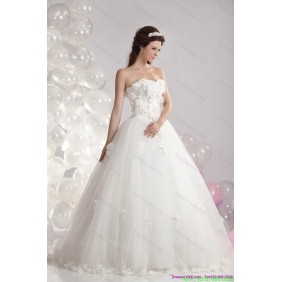 New Arrival White Strapless Bridal Dresses with Beading and Hand Made Flowers