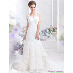 2015 Affordable Lace White Wedding Dresses with Brush Train