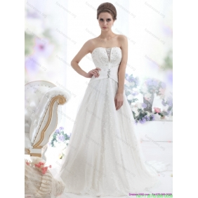 2015 Affordable Sequines White Wedding Dresses with Chapel Train