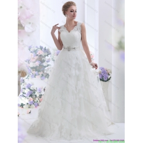 Affordable Brush Train White Wedding Dresses with Lace and Beading
