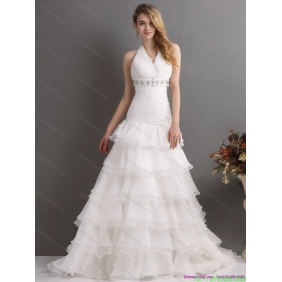 Affordable White Halter Top Beading Wedding Dresses with Ruffled Layers and Brush Train