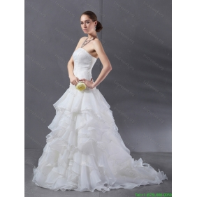 2015 Affordable A Line Strapless Wedding Dress with Ruffles
