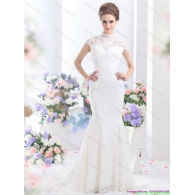 2015 Affordable High Neck Wedding Dress with Mermaid
