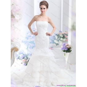 2015 Affordable Strapless Wedding Dress with Brush Train