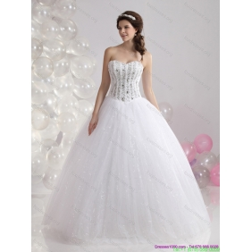 2015 Affordable Sweetheart Wedding Dress with Beading