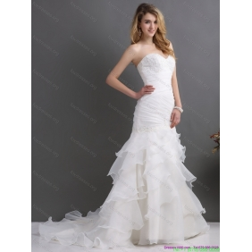 2015 Affordable Sweetheart Wedding Dress with Ruching and Ruffles