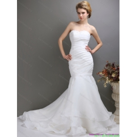 Affordable 2015 Strapless Wedding Dress with Brush Train