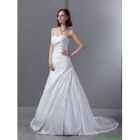 Affordable 2015 Sweetheart Appliques and Ruching Wedding Dress