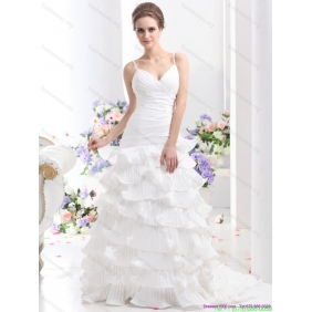 Affordable Ruching White Wedding Dresses with Ruffled Layers and Brush Train