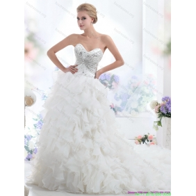 Affordable Sweetheart 2015 White Wedding Dresses with Rhinestones and Ruffles