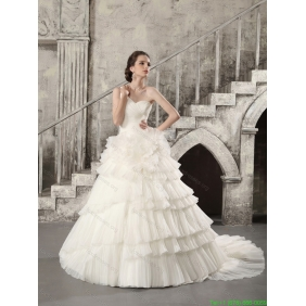 Affordable White One Shoulder Chapel Train Wedding Dresses with Ruffled Layers