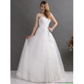 Affordable White Strapless Ruching Wedding Dresses with Brush Train
