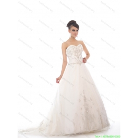 Affordable White Sweetheart Chapel Train Wedding Dresses with Beading and Appliques
