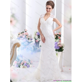 Affordable White V Neck Lace 2015 Wedding Dresses Gown with Brush Train