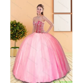 2015 Remarkable Beading Sweetheart Ball Gown Quinceanera Dresses in Rose Pink