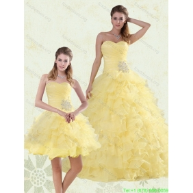Beaded and Ruffled Sweetheart 2015 Quinceanera Dresses in Yellow