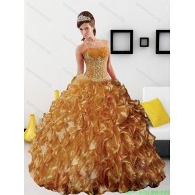 Classic Appliques and Ruffles 2015 Quinceanera Dress in Gold