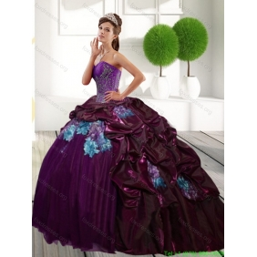 Classic Sweetheart 2015 Quinceanera Gown with Appliques and Pick Ups