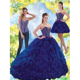 Classical Beading and Ruffles Sweetheart Ball Gown Quinceanera Dresses for 2015