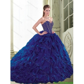 Couture 2015 Sweetheart Beading and Ruffles Navy Blue Quinceanera Dresses