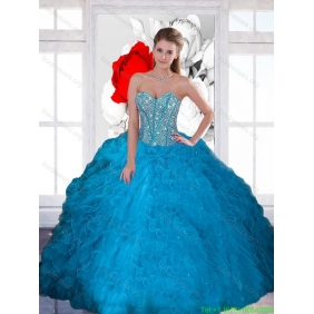 Decent Beading and Ruffles Sweetheart Teal Quinceanera Dresses for 2015