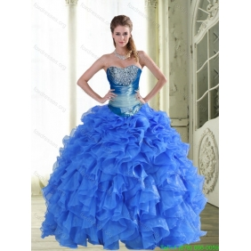 Gorgeous Beading and Ruffles Strapless Blue Quinceanera Dresses for 2015 Spring