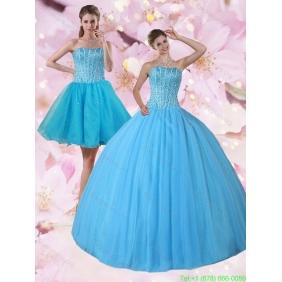 Gorgeous Detachable Baby Blue Strapless 2015 Quinceanera Dresses with Beading