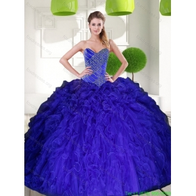 Gorgeous Peacock Blue Sweetheart Beading Ball Gown 2015 Quinceanera Dress with Ruffles
