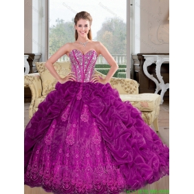 Luxurious Sweetheart 2015 Quinceanera Dresses with Beading and Pick Ups