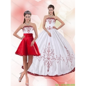 Pretty Strapless 2015 Perfect Quinceanera Dresses with Embroidery