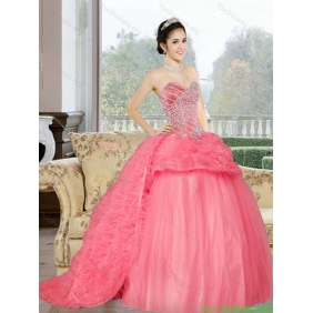 The Super Hot Sweetheart 2015 Quinceanera Dress with Beading and Ruffles